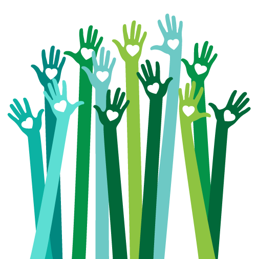 decorative graphic, hands of volunteers