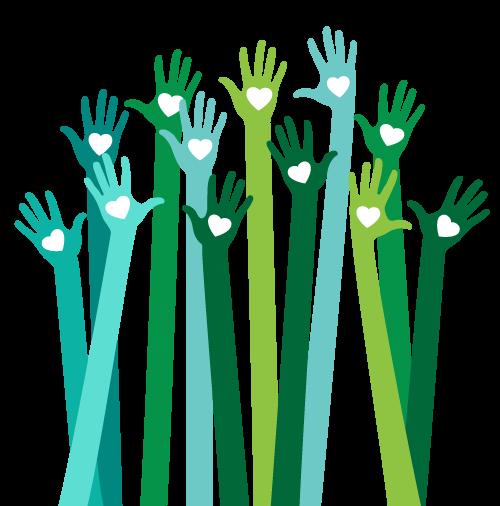 decorative graphic, hands of volunteers